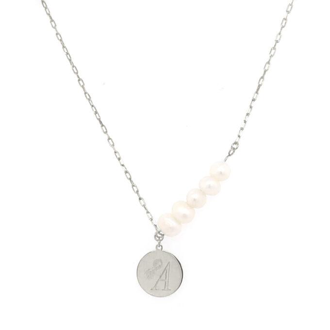 Γυναικείο Ασημένιο Κολιέ Dio Γυναίκα Όνομα Μαργαριτάρι Ζώδιο Μονόγραμμα Γεωμετρικό Σχέδιο Πολύγχρωμες πέτρες Zircon
